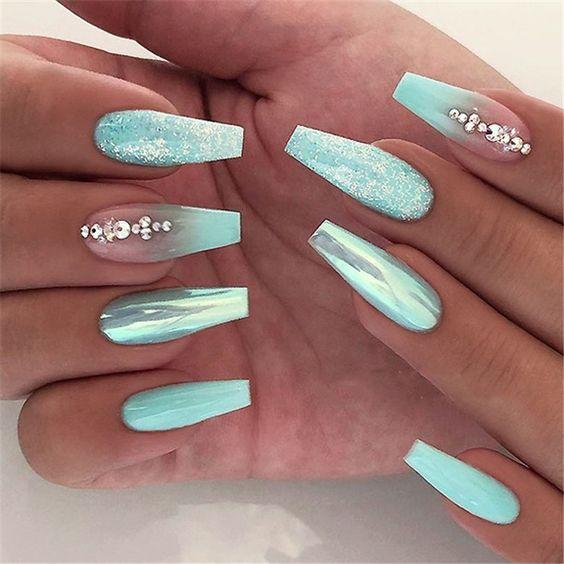 60 Trendy Glitter Coffin Nail Designs