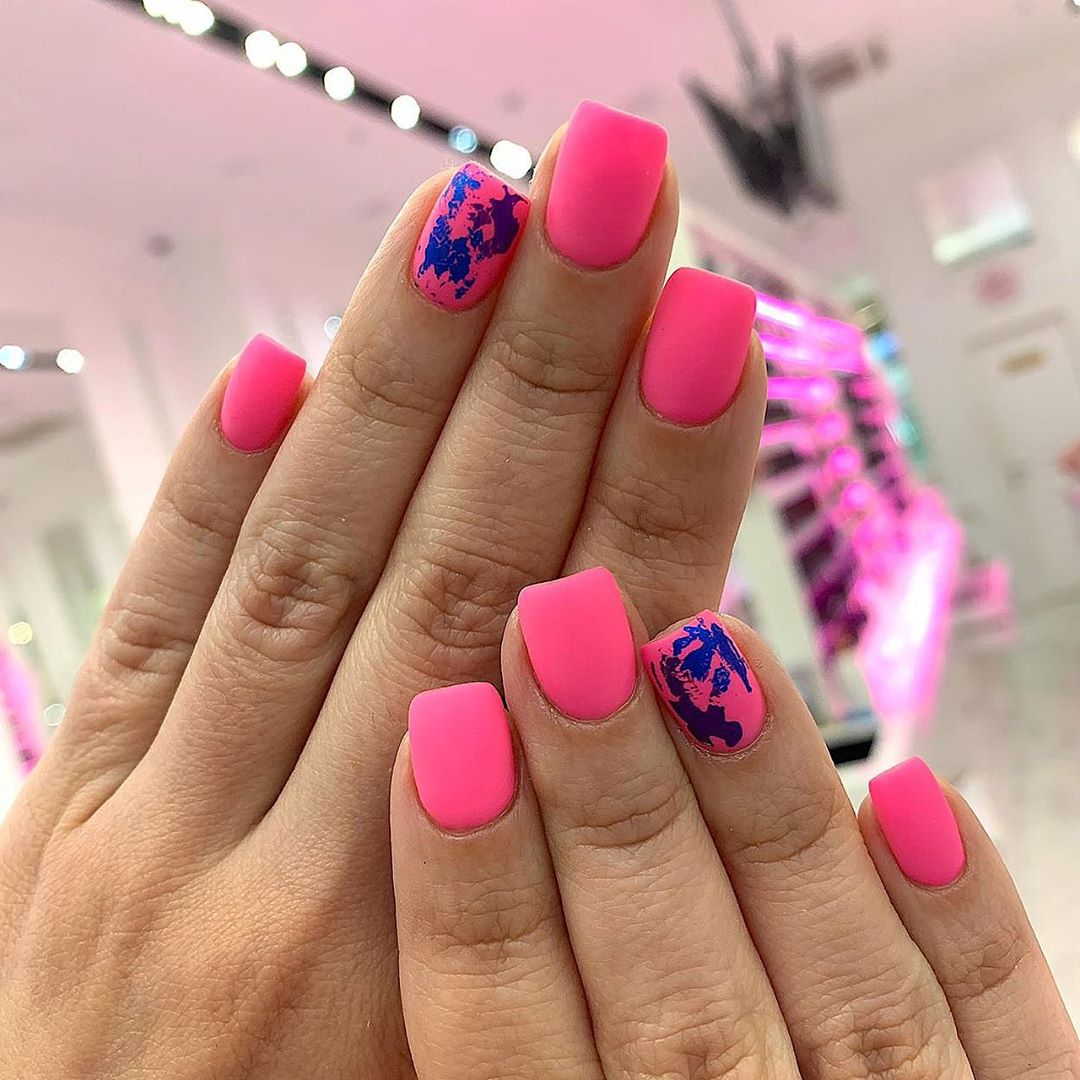 50 Pretty Matte Square Nail Art Designs