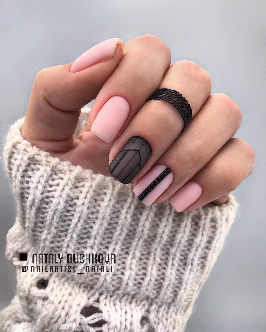 50 Pretty Matte Square Nail Art Designs