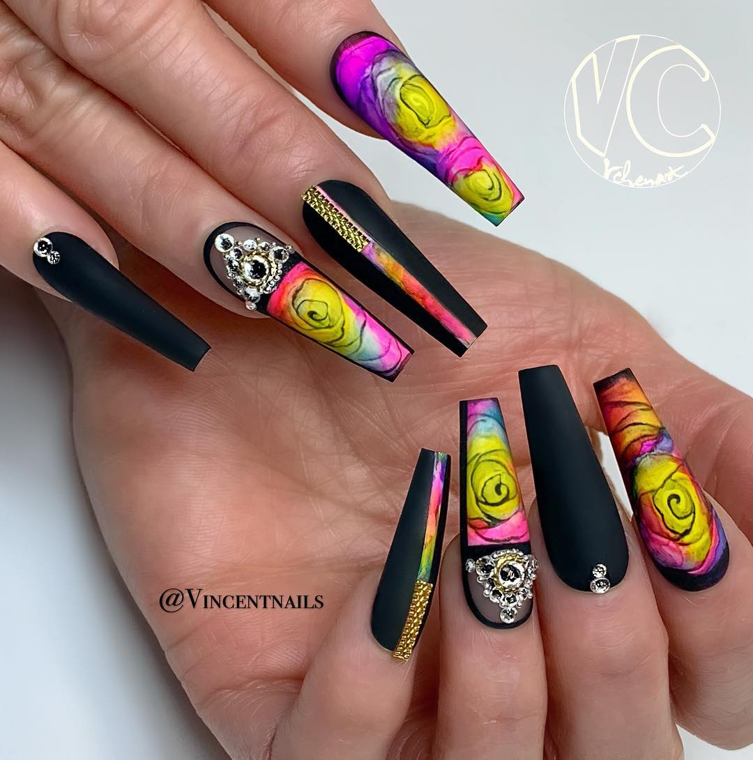 34 Impressive Black Coffin Nail Designs