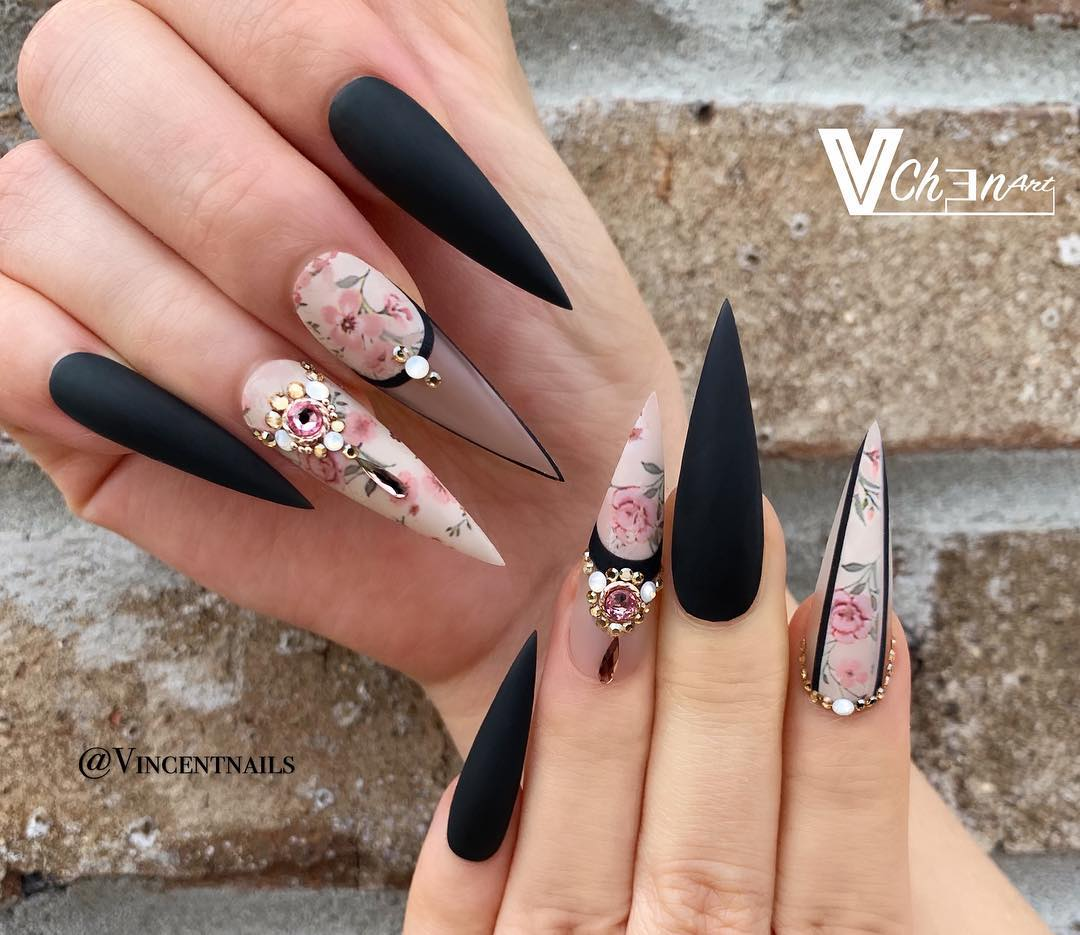 42 Elegant Black Nail Art Designs and Ideas