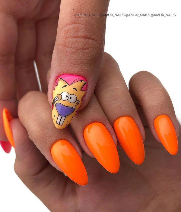 37 Stylish Orange Nail Art Designs For Fall 2019