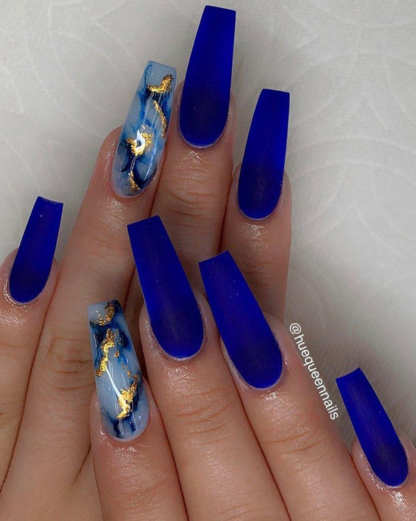 67 Stunning Dark Blue Nail Designs