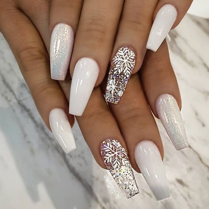 50 Beautiful Snowflake Nail Art Designs For Winter 2019