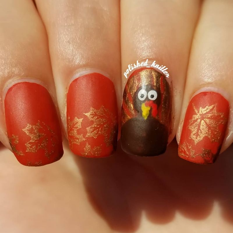 45 Stylish Thanksgiving Turkey Nails to Celebrate the Holiday