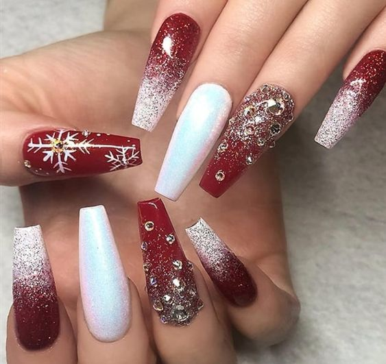 50 Festive Red Coffin Christmas Nails to Inspire You