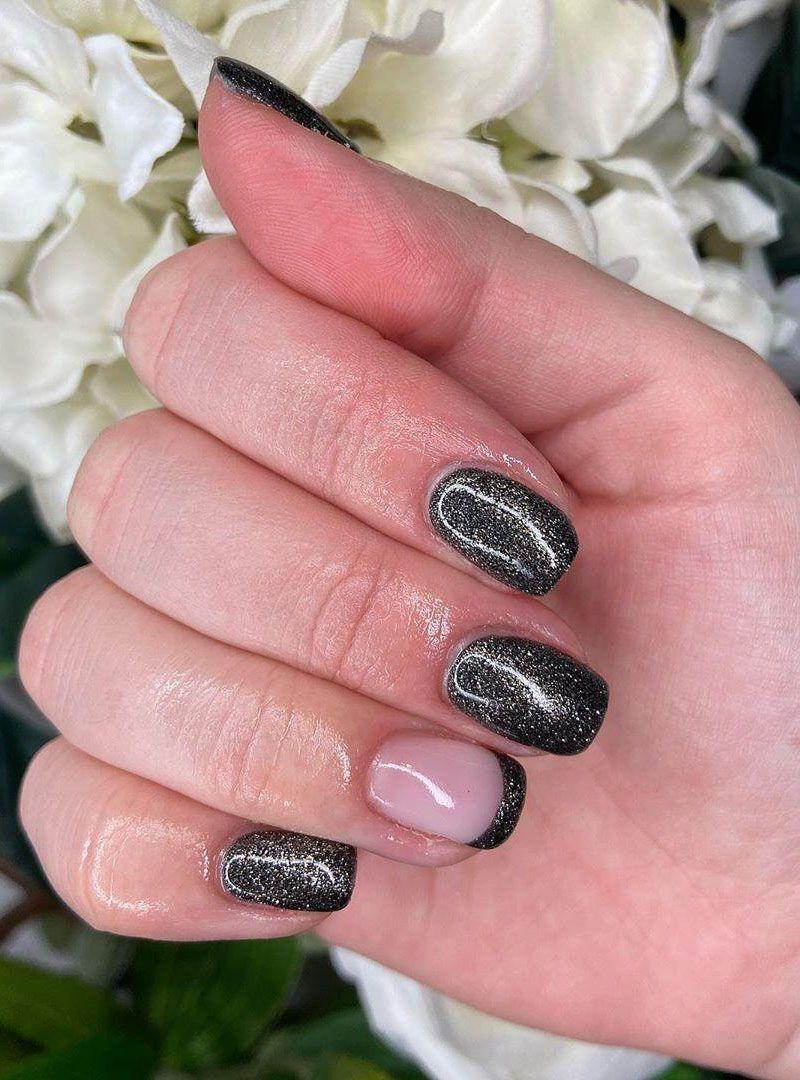 51 Pretty Black Nails with Glitter You'll Love