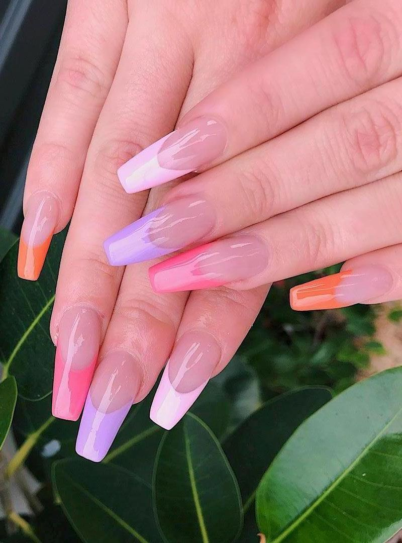 55 Trendy Colored French Tip Nails You Will Like