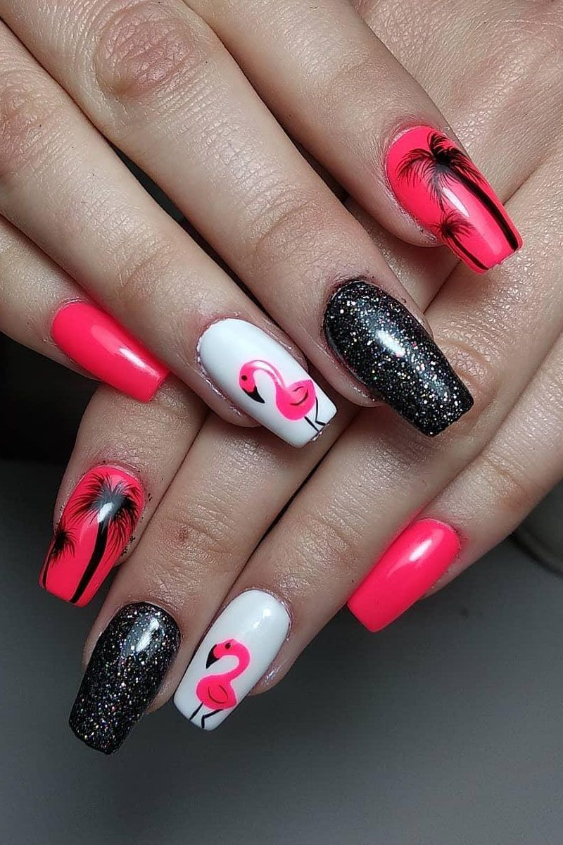 40 Pretty Flamingo Nail Art Designs for Spring You Will Love