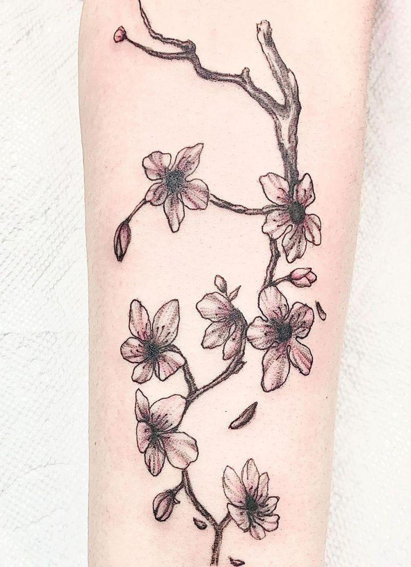 50 Pretty Cherry Blossom Tattoos Make You Charming