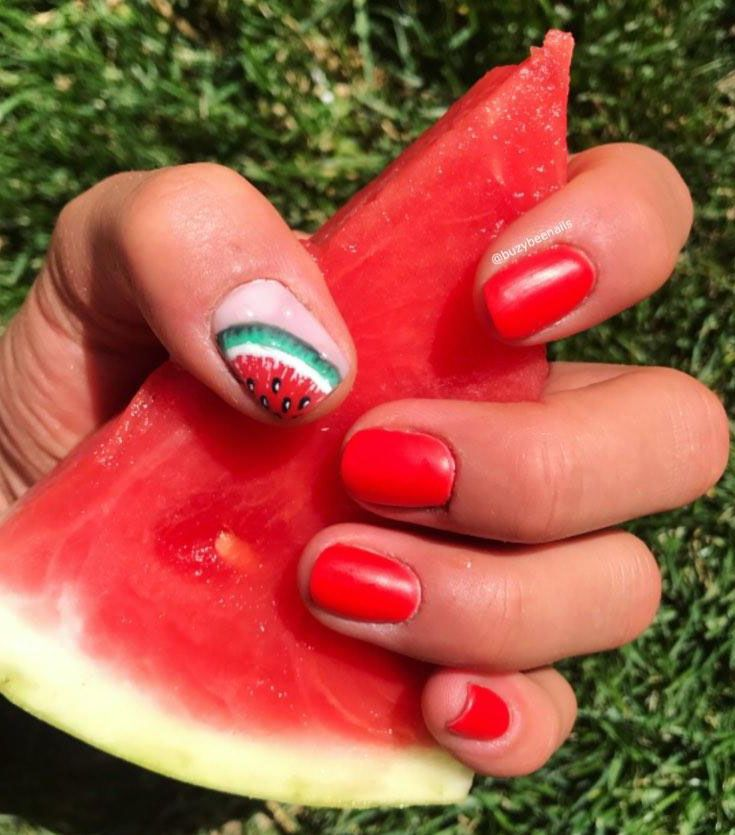 30 Trendy Watermelon Nail Art Designs for Summer