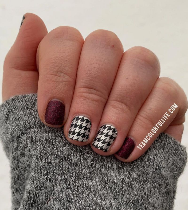 30 Pretty Houndstooth Nail Art Designs You Will Love