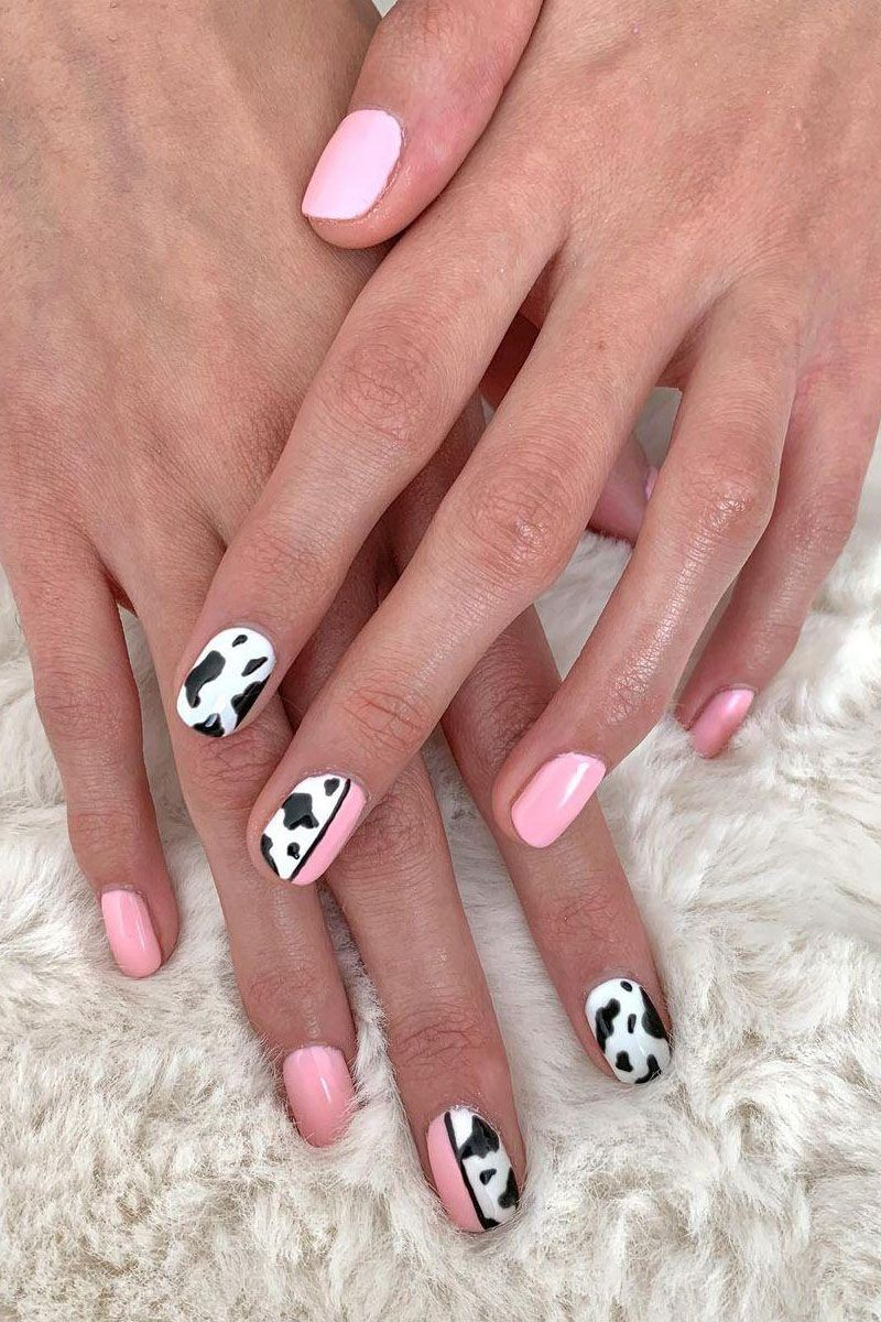 30 Pretty Cow Print Nail Art Designs You Should Try