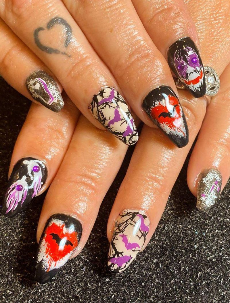 30 Trendy Halloween Bat Nail Art Designs for 2020
