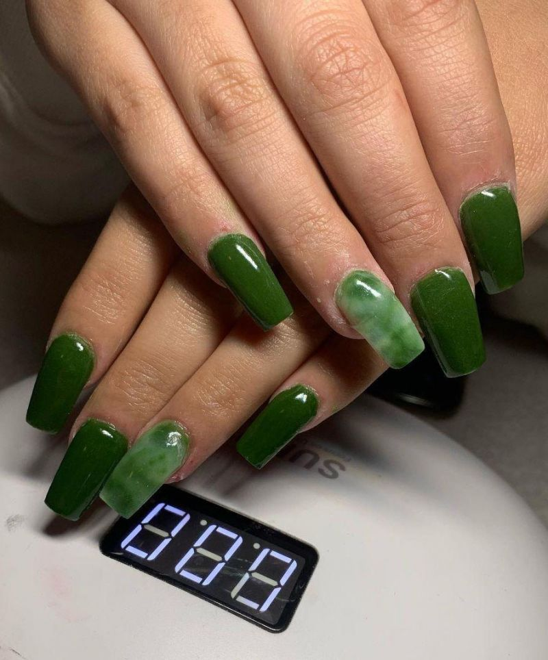 30 Trendy Army Green Nails You Must Love