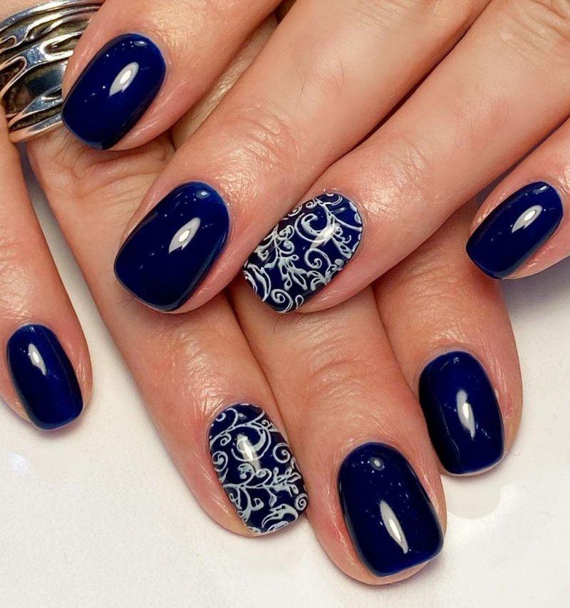 30 Stylish Navy Blue Nails For Inspiration