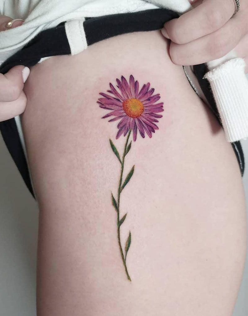 30 Elegant Aster Tattoos You Must Love